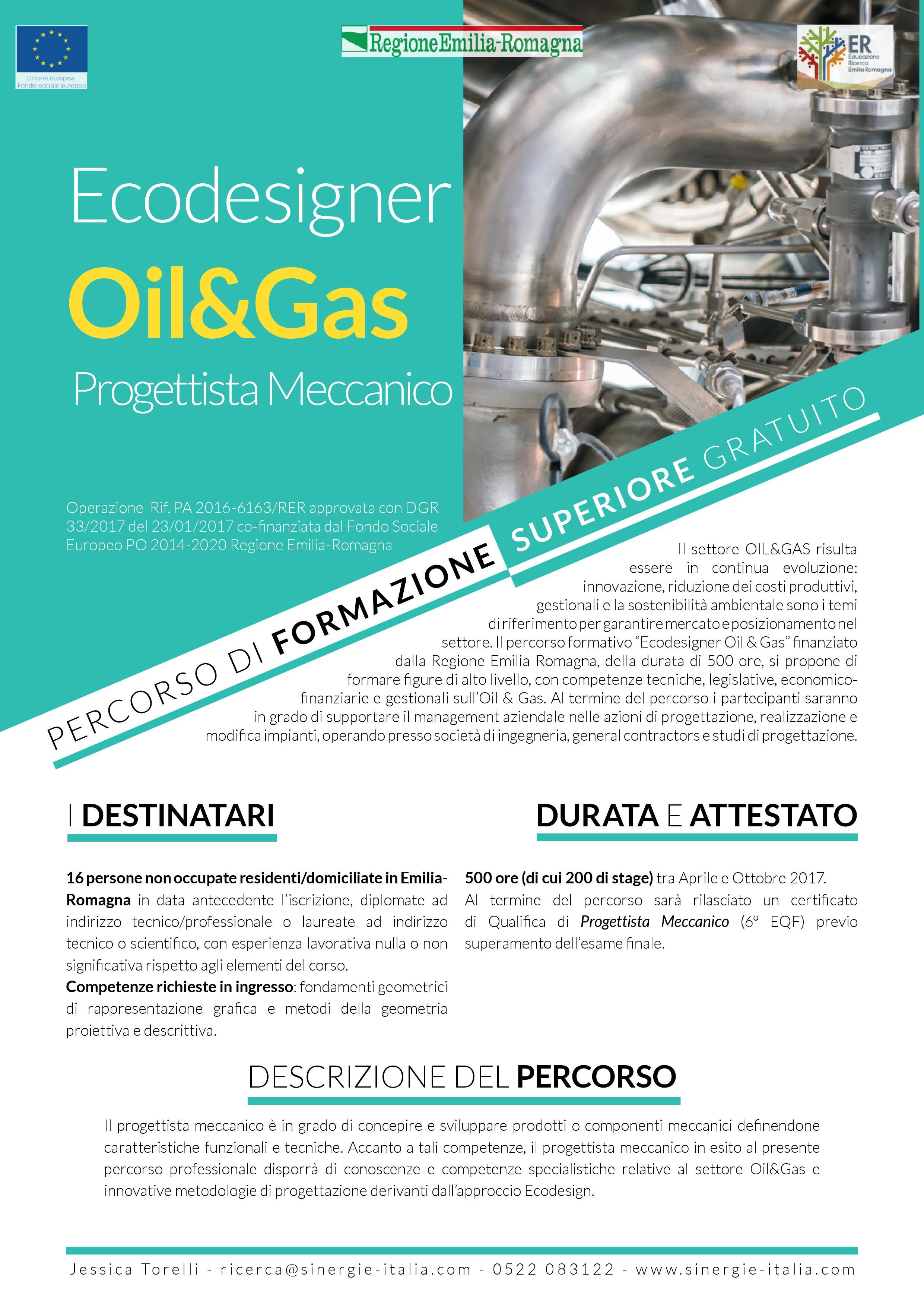 Iscrizioni Corso Progettista Meccanico Settore Ecodesigner Oil & Gas